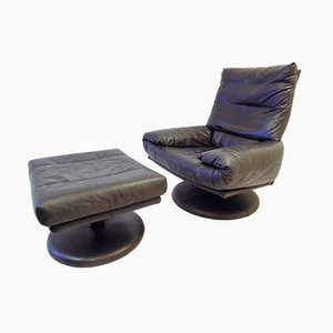 Black Leather Lounge Chair and Ottoman Set from Rolf Benz, 1980s
