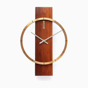 Mid-Century Rosewood and Brass Wall Clock from Junghans, 1960s