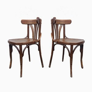 Vintage Wooden Bistro Chairs, 1950s, Set of 2