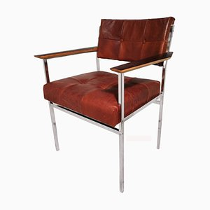 Rosewood and Chrome Armchair, 1970s