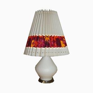 Florale Mid-Century Tischlampe aus Opalglas, 1960er