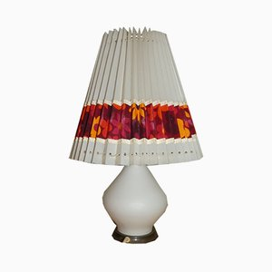 Mid-Century Opaline Glass Floral Table Lamp, 1960s