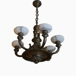 Antique Bronze and Alabaster Figural Chandelier