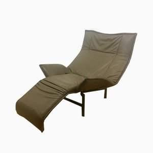 Leather Model Veranda Lounge Chair by Vico Magistretti for Cassina, 1980s