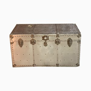 Industrial Aluminum Aviation Travel Trunk, 1940s