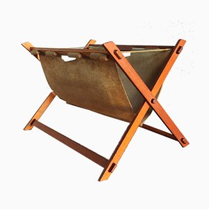 Mid-Century Danish Teak and Leather Magazine Rack, 1960s