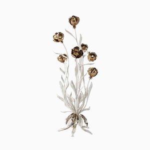 Lampada da terra Hollywood Regency con fiori di Hans Kögl, anni '70