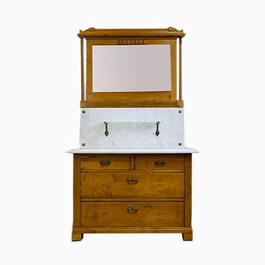 Antique Art Nouveau Softwood and Marble Dressing Table, 1910s