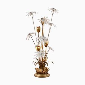 Lámpara de pie floral en blanco dorado de Hans Kögl, años 70