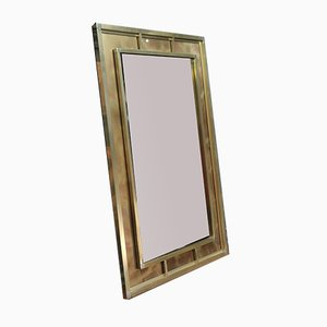 Brass and Brushed Metal Mirror from Belgochrome, 1970s