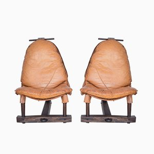Brazilian Tropical Wood and Cognac Leather Lounge Chairs, 1960s, Set of 2