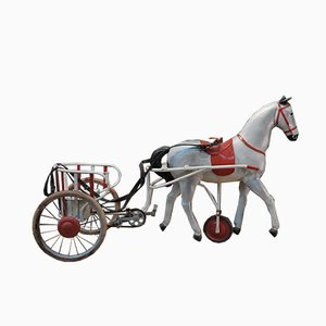 Metal and Leather Childrens Toy Horse Carriage, 1950s