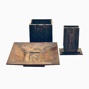 Raucherset aus Bronze von G.A.B. für Guldsmedsaktiebolaget, 1940er, 3er Set