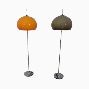 German Metal and Plastic Floor Lamps, 1970s, Set of 2