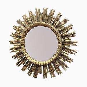 Espejo en forma de sol de madera curvada y vidrio, años 60