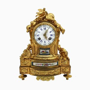 Antique Napoleon III French Gilt Bronze and Porcelain Pendulum Clock