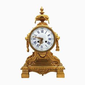Reloj de péndulo francés Napoleón III antiguo de bronce dorado