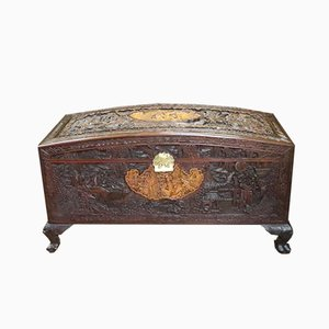 Antique Camphor Wood and Maple Chest, 1900s