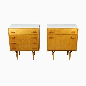 Tables de Chevet en Verre Blanc et Contreplaqué de Novy Domov NP, 1970s, Set de 2
