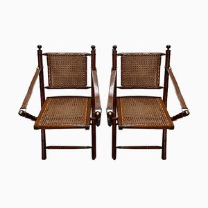 Mahogany and Bamboo Folding Chairs, 1920s, Set of 2