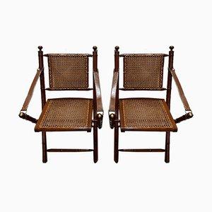 Sedie pieghevoli in mogano e bambù, anni '20, set di 2