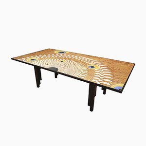 Italian Lacquered Wood Decorated Scagliola Art Table by Cupioli