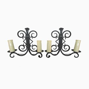 Wrought Iron Sconces, 1970s, Set of 2