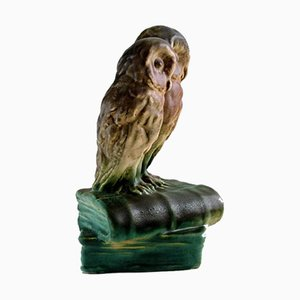 Statuetta Owls Sitting on Books in ceramica di Michael Andersen, anni '40