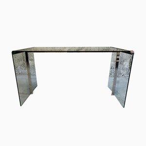 Vintage Schreibtisch aus Glas & Chrom von Pierangelo Gallotti für Gallotti & Radice, 1970er