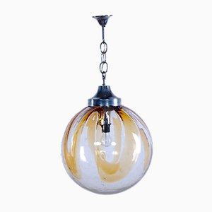 Lampada da soffitto in vetro ambrato di Mazzega, anni '70