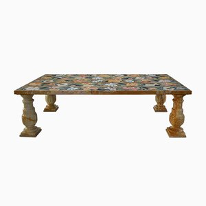 Siena Yellow Marble & Scagliola Art Inlay Coffee Table by Cupioli