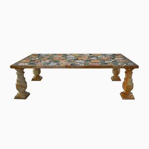 Tavolino da caffè in marmo di Siena giallo e scagliola con intarsi di Cupioli