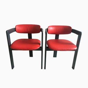 Mid-Century Esszimmerstühle mit Kunstlederbezügen, 2er Set