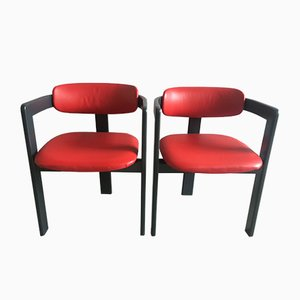 Mid-Century Modern Faux Leather Dining Chairs, Set of 2