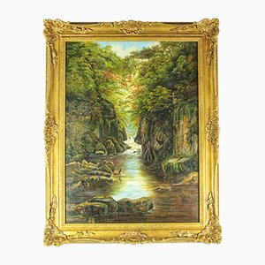 Antique Natural Landscape Oil on Canvas by Francis Muschamp