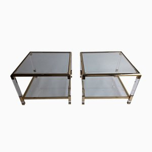 Mid-Century French Perspex and Brass Side Tables, 1970s, Set of 2