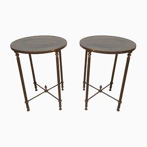 Tables d'Appoint Rondes Vintage en Laiton, Set de 2
