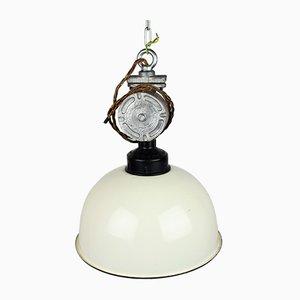 Mid-Century Industrial White Enamel Pendant Lamp