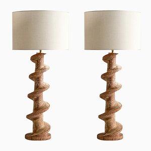 Antike belgische Tischlampen aus Holz, 2er Set