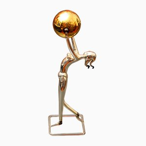 Art Deco Austrian Diana with Globe Sculpture by Bimini Lauscha, 1930s