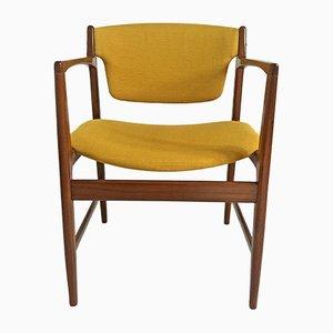 Skandinavischer Armlehnstuhl mit Gestell aus Palisander & senfgelbem Bezug von Ib Kofod Larsen für G-Plan, 1960er