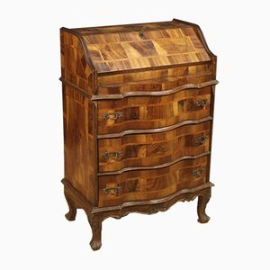 Italian Burl Walnut, Cherry, and Beech Secretaire, 1960s