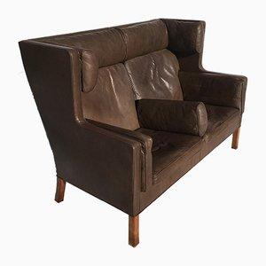 Sofá modelo 2192 de cuero marrón de Børge Mogensen para Fredericia, años 70