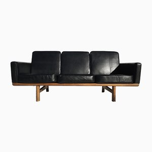 Black Leather Sofa by Hans J. Wegner for Getama, 1950s