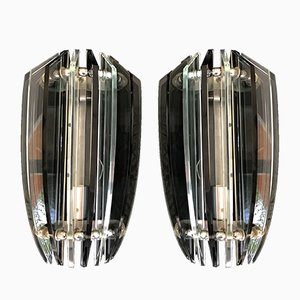 Italian Glass Sconces from Veca, 1970s, Set of 2