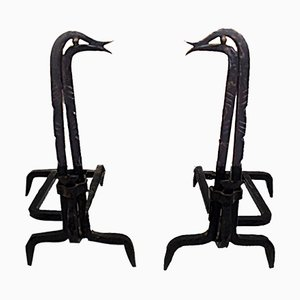 Wrought Iron Andiron, 1950s, Set of 2
