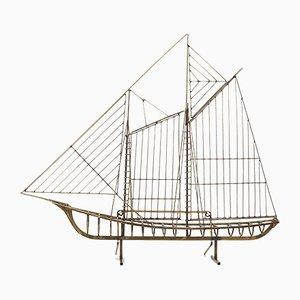 Boot Skulptur aus Messing von Curtis Jere, 1988