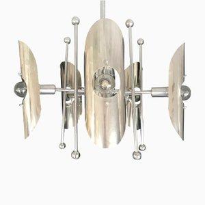 Lámpara de araña era espacial de cromo, años 60