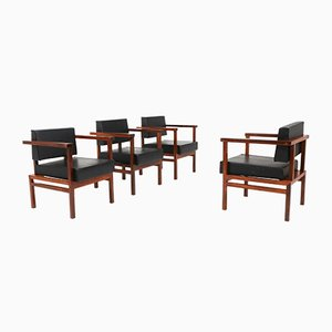 Rosewood & Leather Armchairs by Wim Den Boon, 1950s, Set of 4