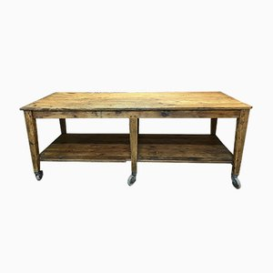 Mesa de trabajo vintage de madera de pino